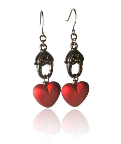 Steampunk heart earrings