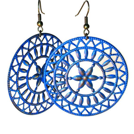 blue filigree earrings