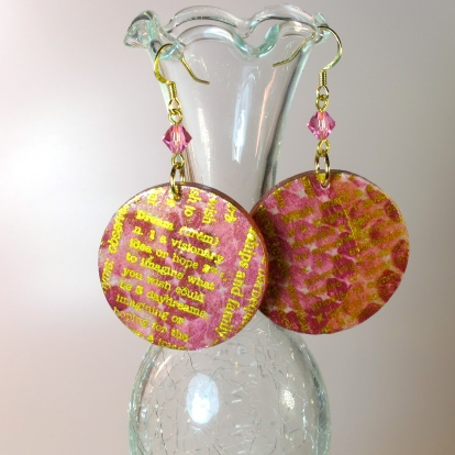 DIY decoupage earrings with hand stamped gold