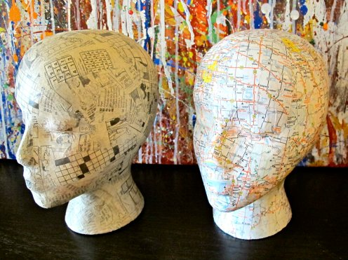 decoupage manniquin heads crafts