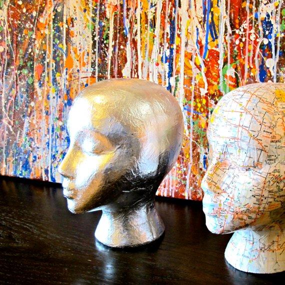 Silver leaf mannequin head sculpture