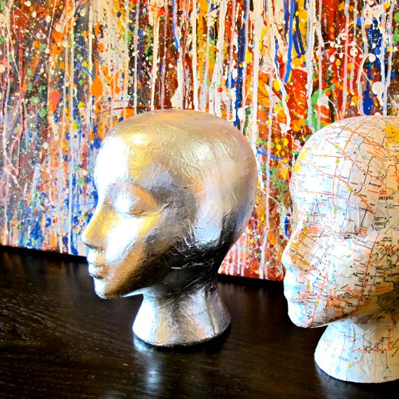 Silver leaf mannequin head sculpture