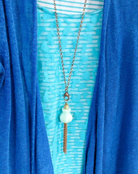 long upcycled glass knob necklace