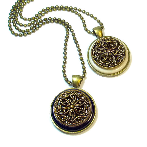 Handmade repurposed vintage button necklace pendants for Repurposed vintage jewelry designers