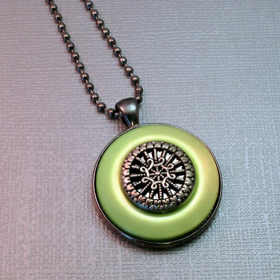 green button necklace