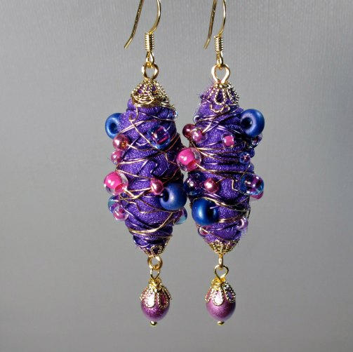 purple fabric earrings