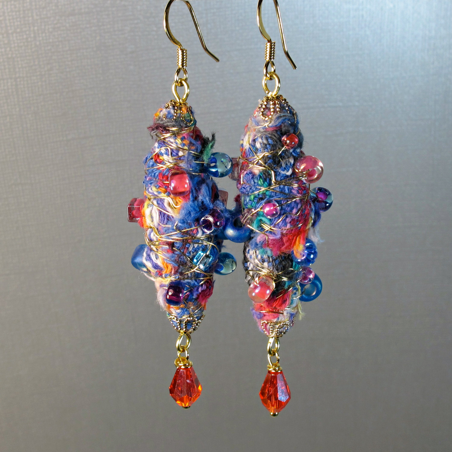Fiber Art Jewelry – Wire Wrapped Fabric Earrings and Necklaces ...