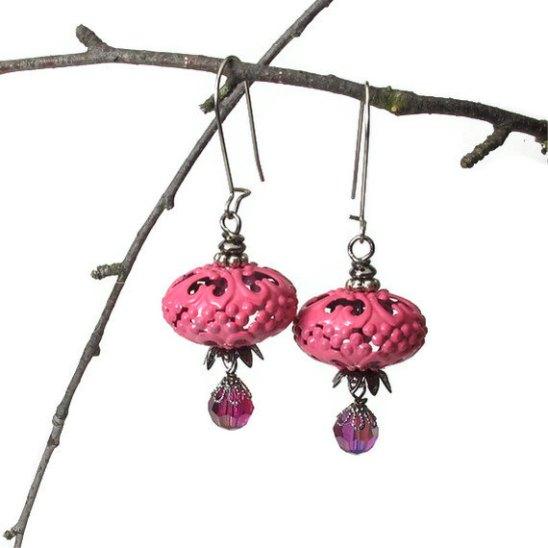 fall acorn earrings in rose