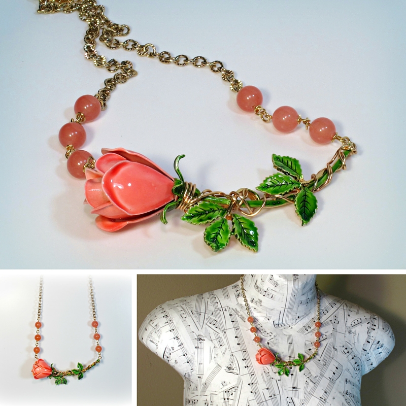 upcycled vintage brooch necklace