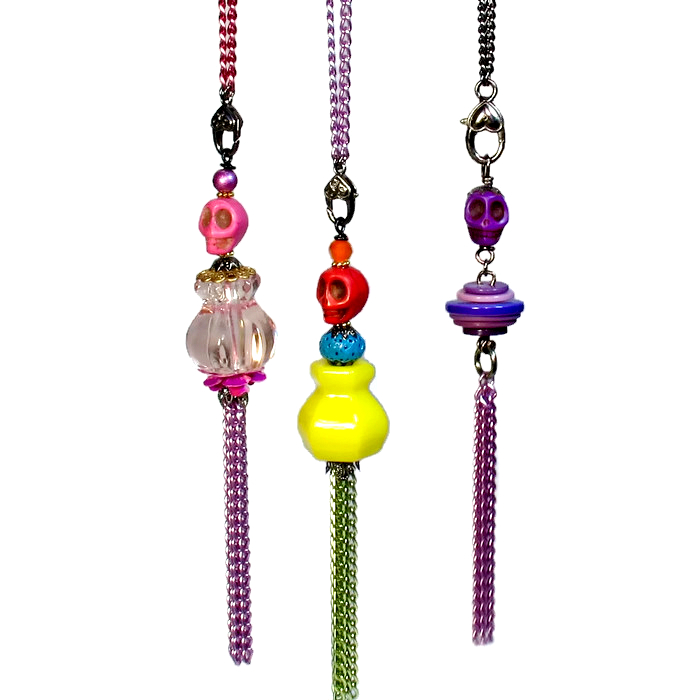 Day of the Dead tassel necklaces.