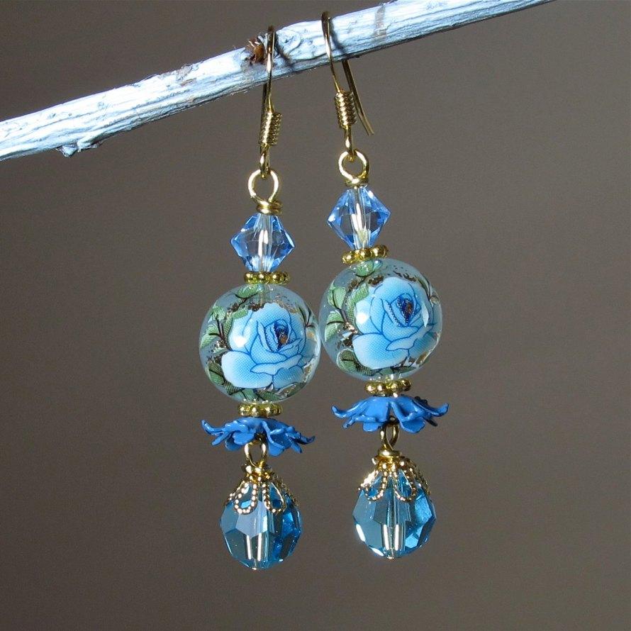 "blue rose dangle earrings with vintage ""ruffles"""