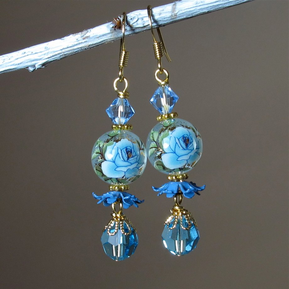 "blue rose dangle earrings with vintage ""ruffles"""