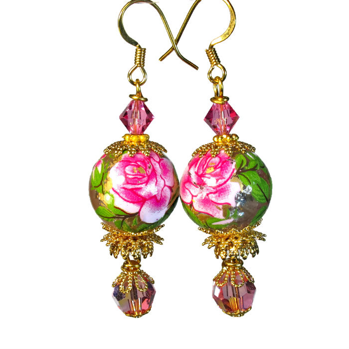 Vintage style rose earrings with handmade Tensha beads