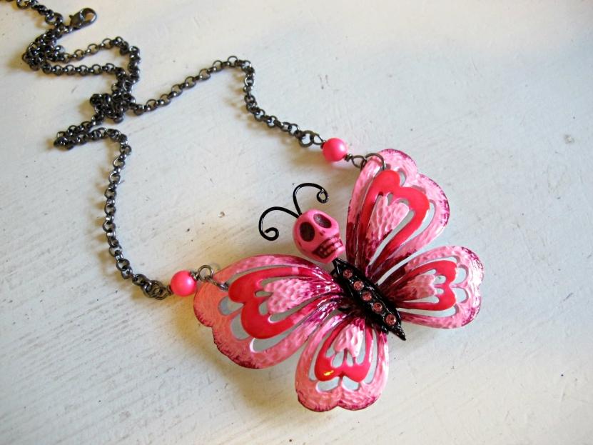 butterfly sugar skull necklace