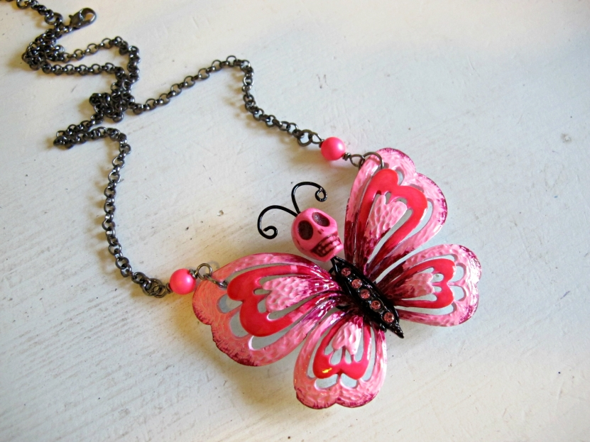 butterfly sugar skull necklace