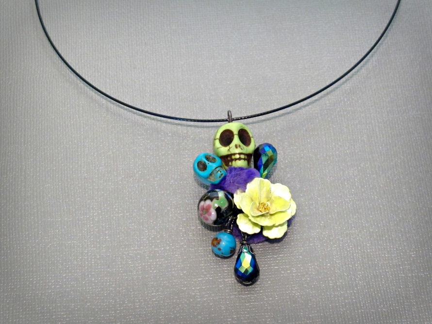 """Sugar skull necklace pendant on a 18"""" black stainless steel cord"""