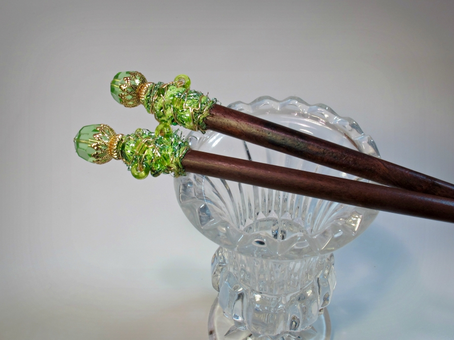 Hair sticks made from ribbon wire wrapped