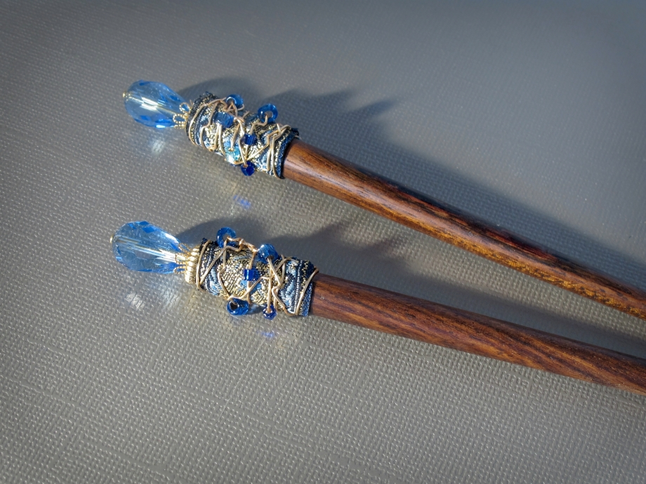 Wire wrapped ribbon hair sticks in blue