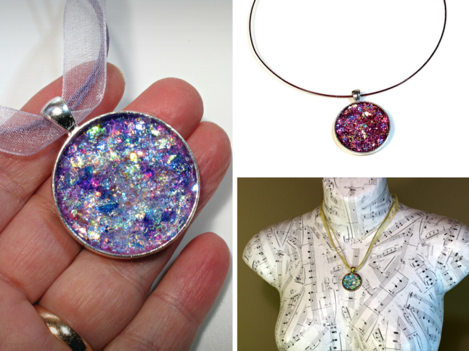 Glitter druzy and opal pendants