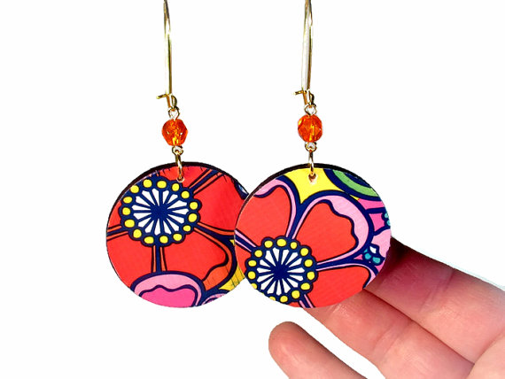 Reversible Earrings with smaller flowers on the other side
