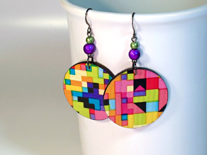Colorful Graphic Design Jewelry Made From Duct Tape