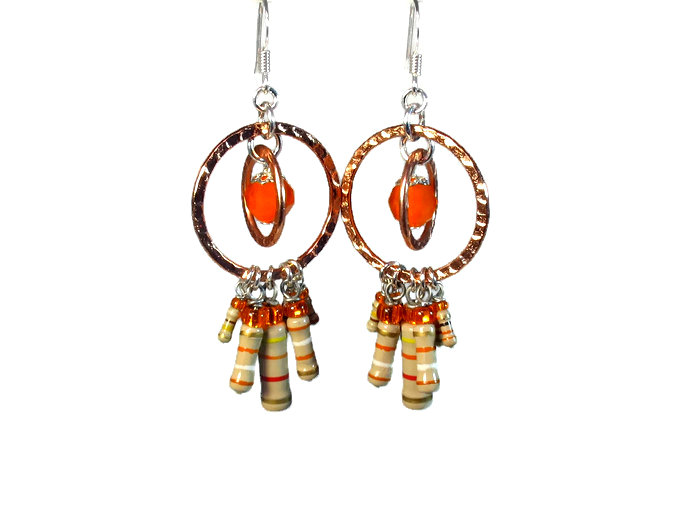 Orange dangle earrings with resistors