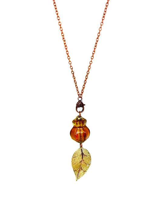 Long upcycled glass knob necklace by BluKatDesign on Etsy
