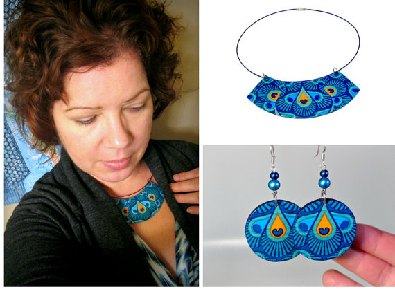 Peacock bib necklace