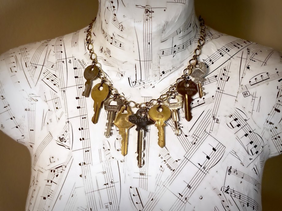 repurposed key statement necklace