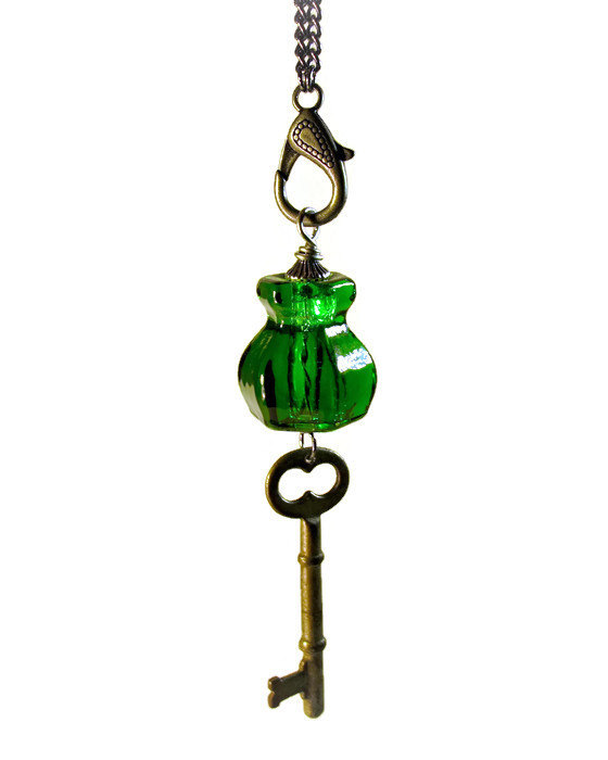 long upcycled green glass knob necklace antique key