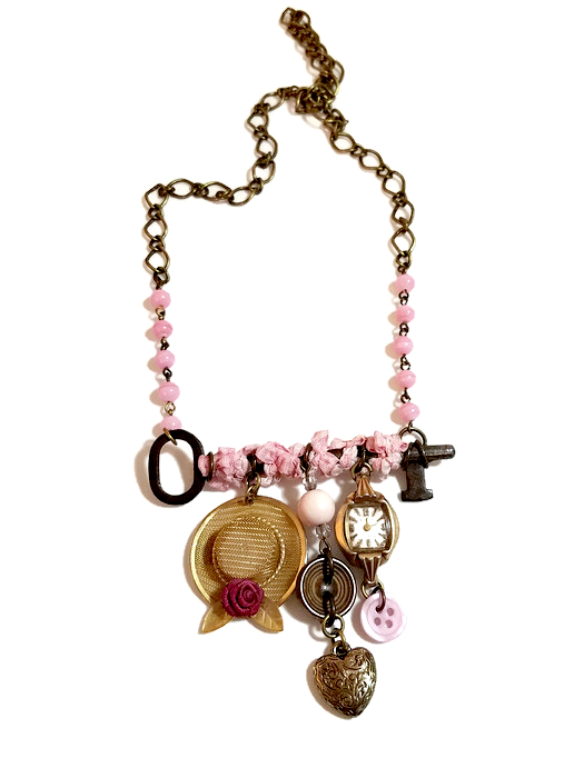 statement necklace with antique key and charms