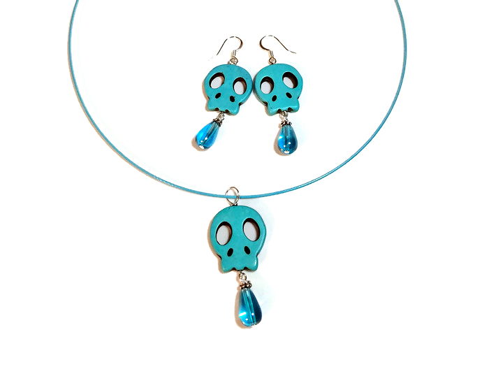 sugar skull necklace earrings set