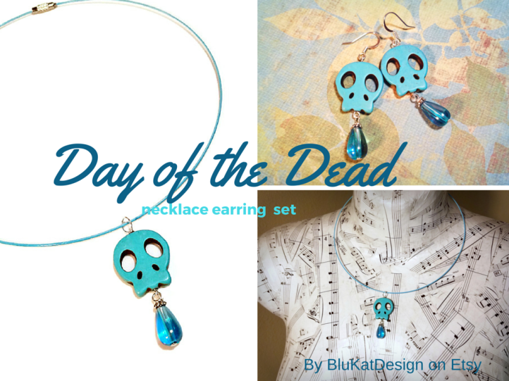 Day of the Dead necklace earring set