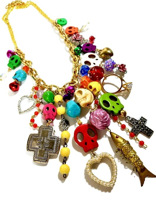 Day of the Dead waterfall charm necklace in gold