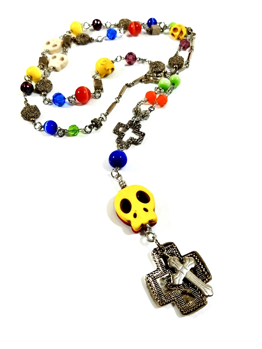 long skull cross necklace