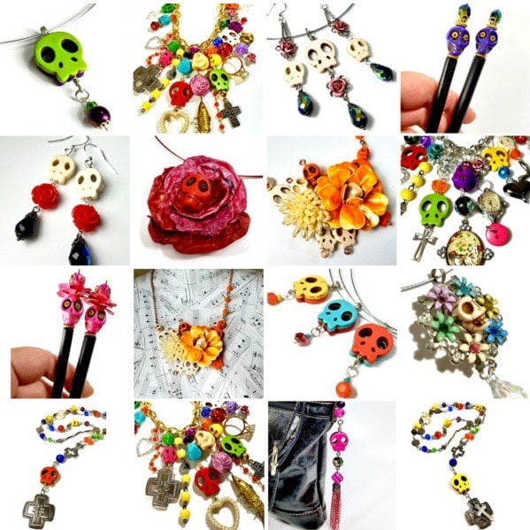 Skull necklaces, pendants, earrings and hair sticks