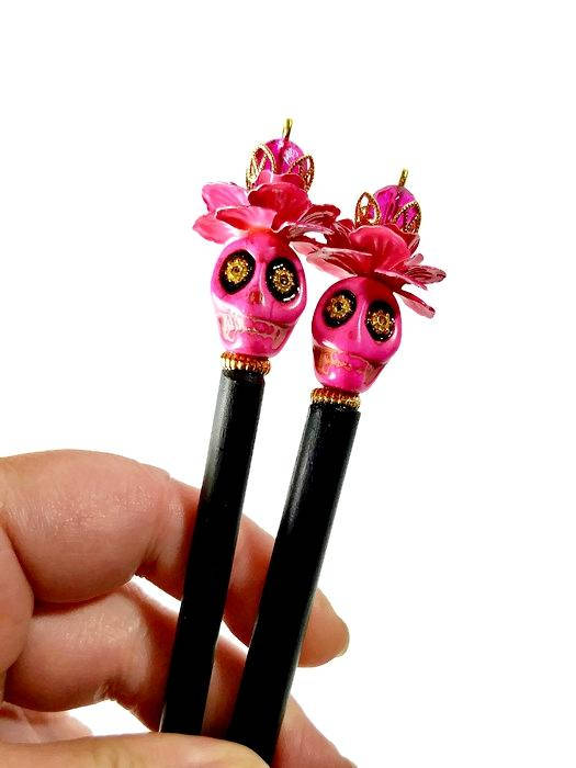 skull hair sticks accessories