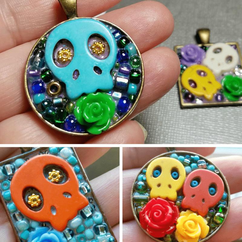 vibrant mini mosaic skull pendant necklaces!