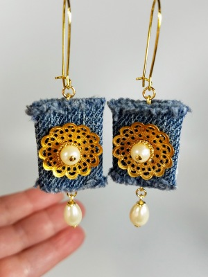 Pearl dangle denim earrings with vintage filigree