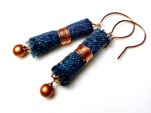 denim bead earrings wrapped with copper