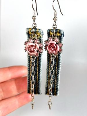 Belt hoop flower earrings