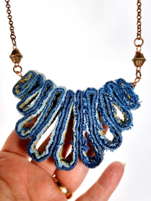 denim jeans statement necklace