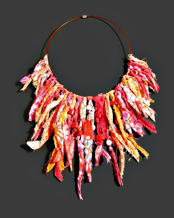 Fiber art jewelry fringe necklace in red