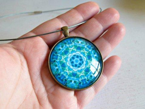 turquoise mandala necklace pendant