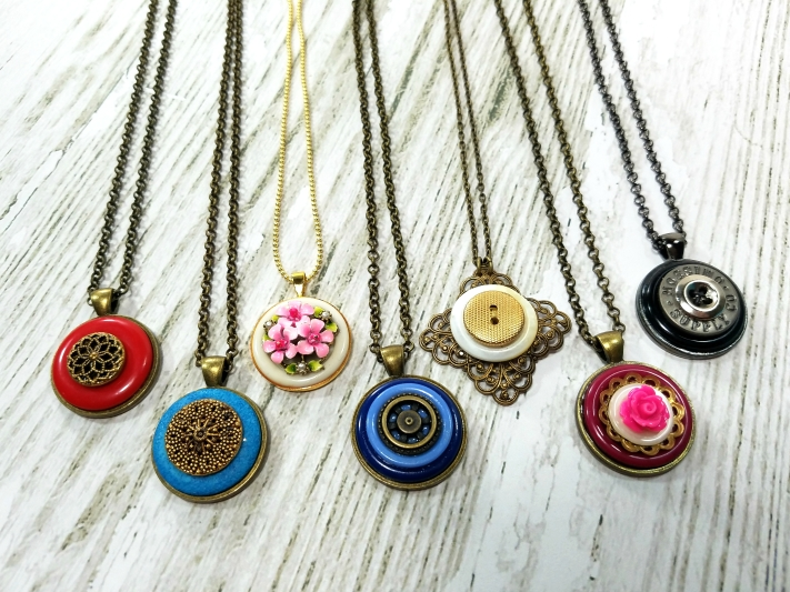 Repurposed button necklace pendants