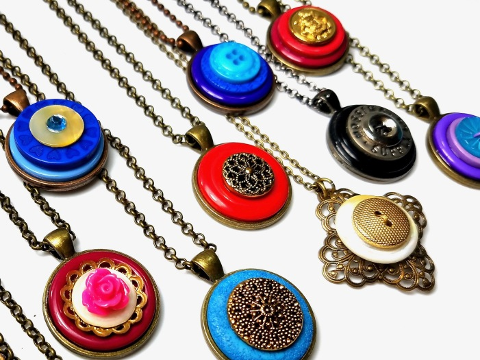 handmade upcycled button necklace pendants