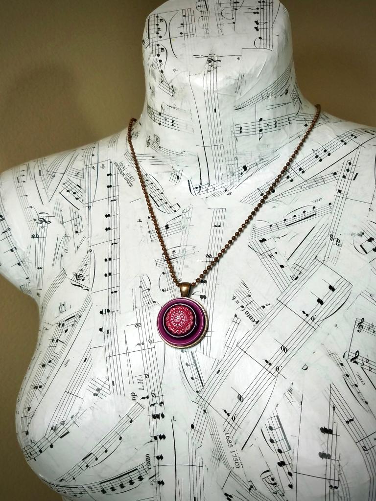 Purple Button Pendant Necklace