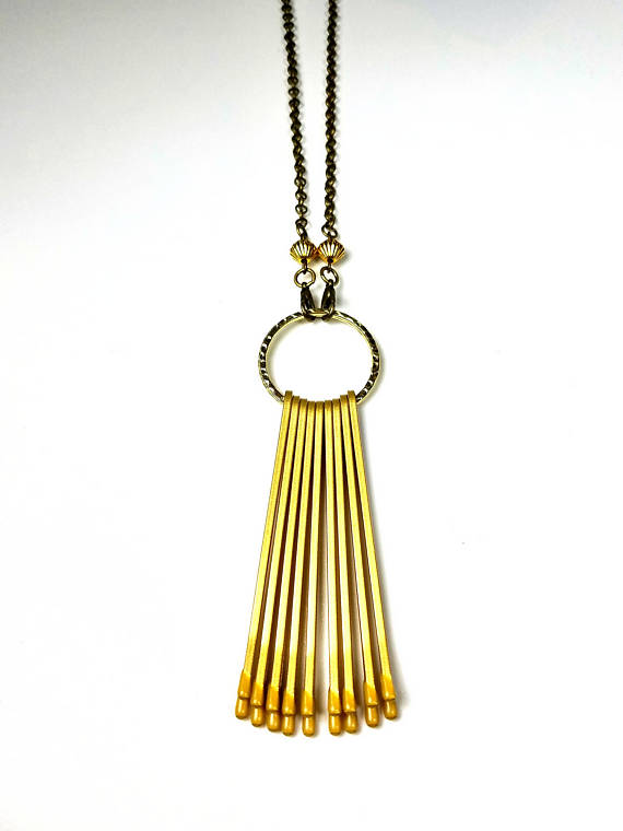 gold brass tassel necklace bobby pins