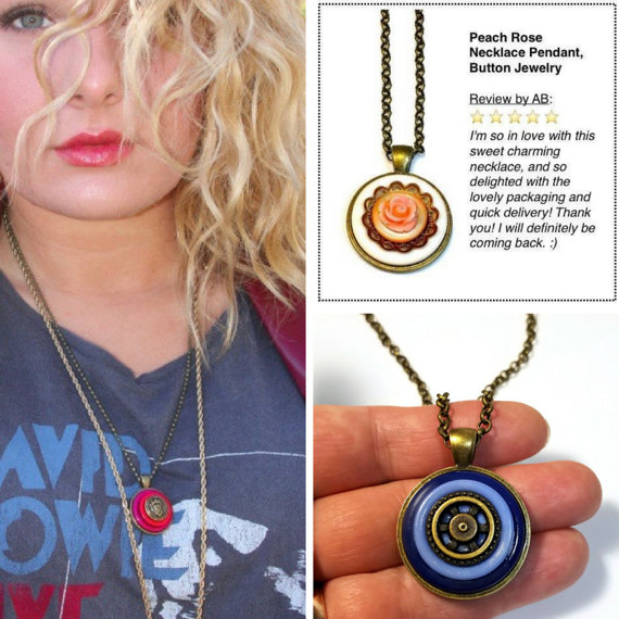Repurposed button jewelry necklace