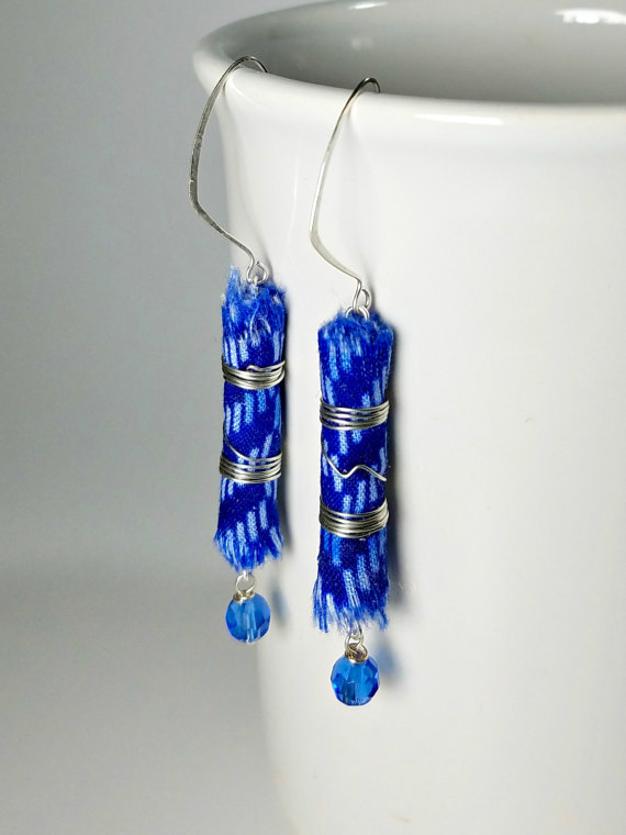One-of-a-kind scrap fabric earrings